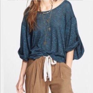 FP Beach Nani blue marbled knit top